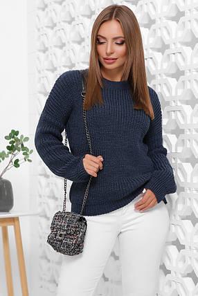 Свитер женский однотонный в стиле oversize 42-46 из качественной мягкой пряжи цвет джинс(темно-синий), фото 2