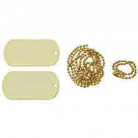 Жетоны армейские стальные US Dog Tag Set золотистые MFH