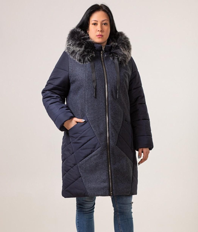 Зимові жіночі куртки великих розмірів 52-60 темно синій
