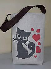 """Пошитая сумка для вышивки бисером """"Котик"""""""