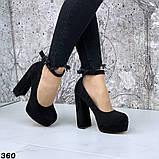Женские туфли на высоком каблуке с ремешком черные, фото 2