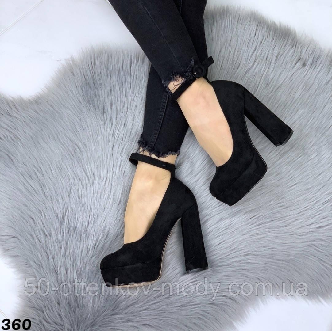 Женские туфли на высоком каблуке с ремешком черные