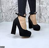 Женские туфли на высоком каблуке с ремешком черные, фото 6