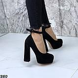 Женские туфли на высоком каблуке с ремешком черные, фото 3