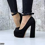 Женские туфли на высоком каблуке с ремешком черные, фото 5