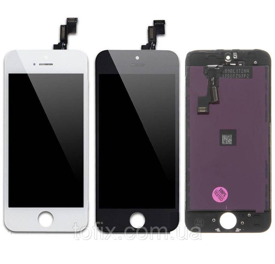 Дисплей для iPhone 5S, iPhone SE, модуль в зборі (екран і сенсор), з пластиками камери і датчика наближення