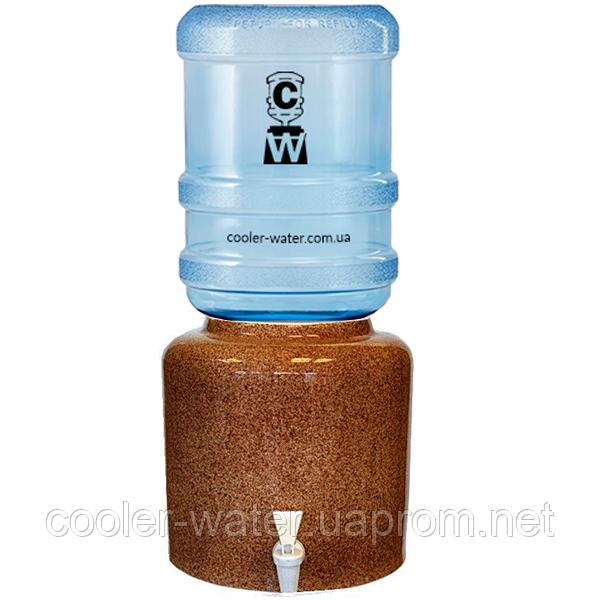 Керамический диспенсер для воды «Мрамор Коричневый»