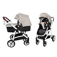 Детская универсальная прогулочная коляска 2 в 1 CARRELLO Fortuna CRL-9001/1 Peanut Beige с матрасом