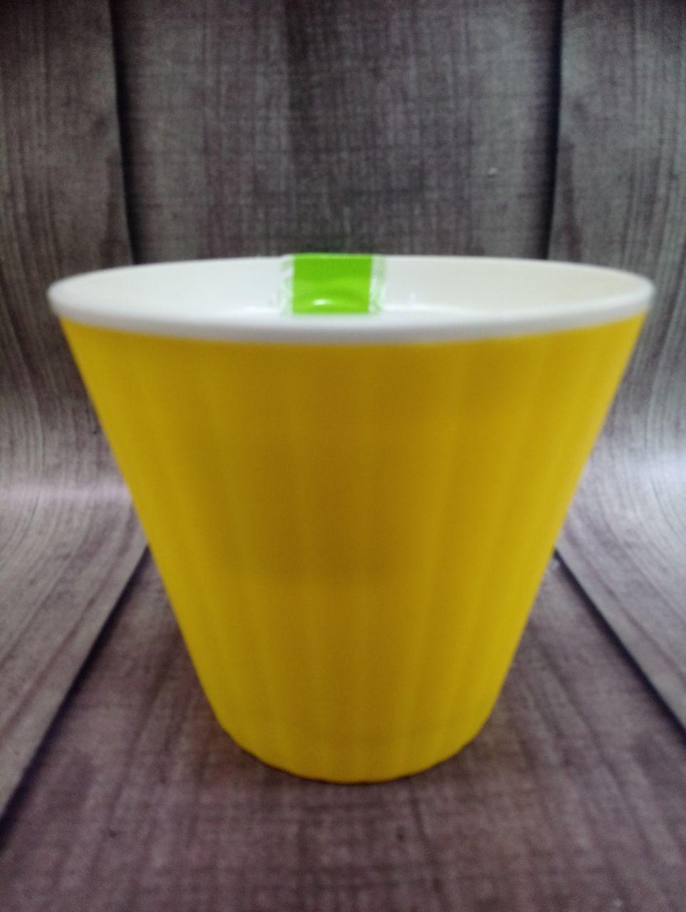 """Вазон """"Ибис"""" с двойным дном 17.9*14.7 (2.3 л) Желтый-белый"""