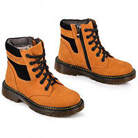 Ботинки на мальчика замшевые Осень- флис Зима- набивная шерсть размер 32-39