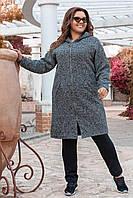 Женское пальто букле батал Новинка 2020