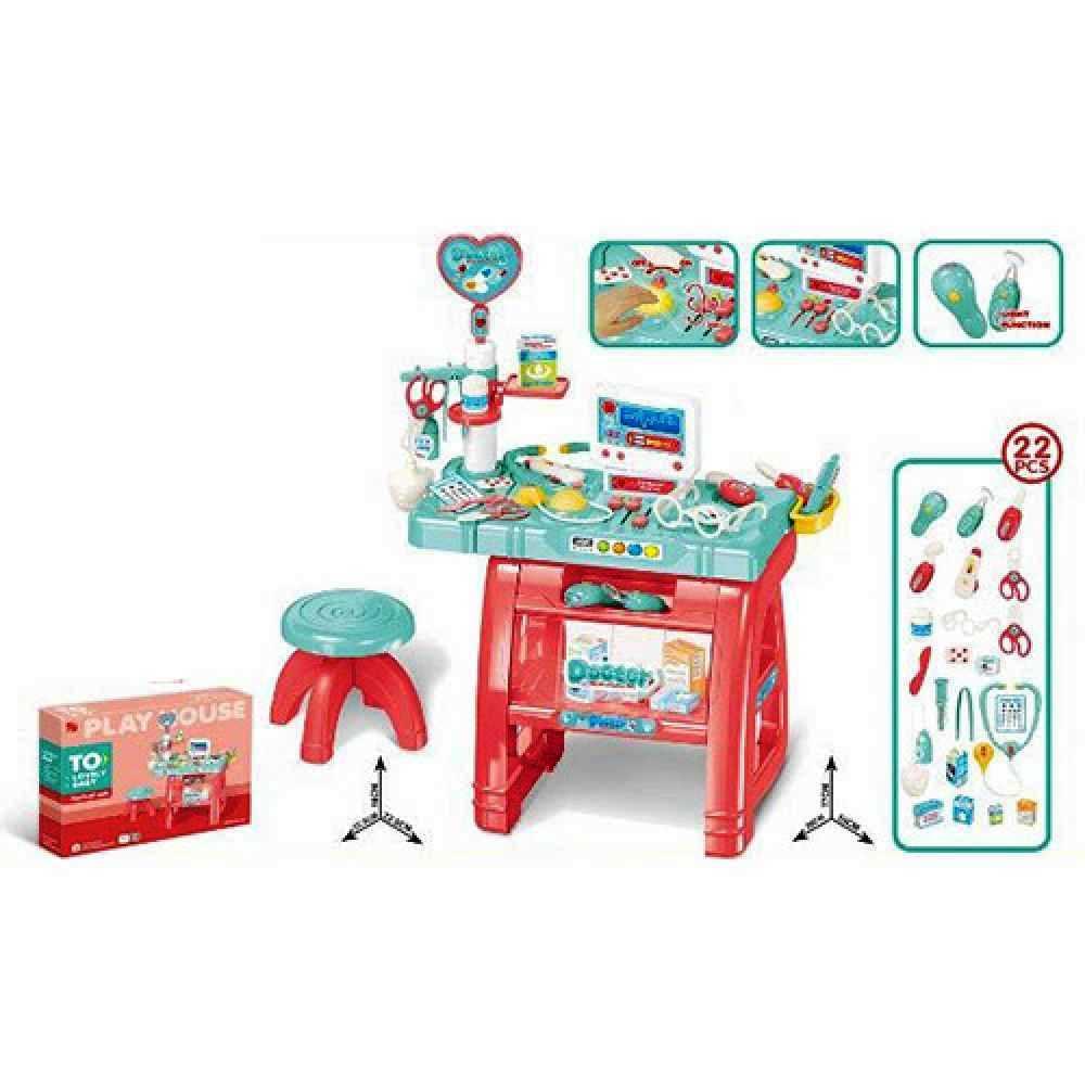 Доктор игровой набор 660 62 стол, стульчик, компьютер, инструменты, 22 предмета, звук, свет