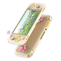 Чехол Baseus для игровой консоли Nintendo Switch Lite - GS06L Silicone(with 2 key caps) White+Pink (WISWLT-24)