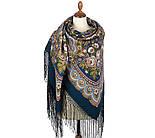 Посадский 874-14, павлопосадский платок (шаль) из уплотненной шерсти с шелковой вязаной бахромой, фото 5