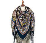 Посадский 874-14, павлопосадский платок (шаль) из уплотненной шерсти с шелковой вязаной бахромой, фото 3
