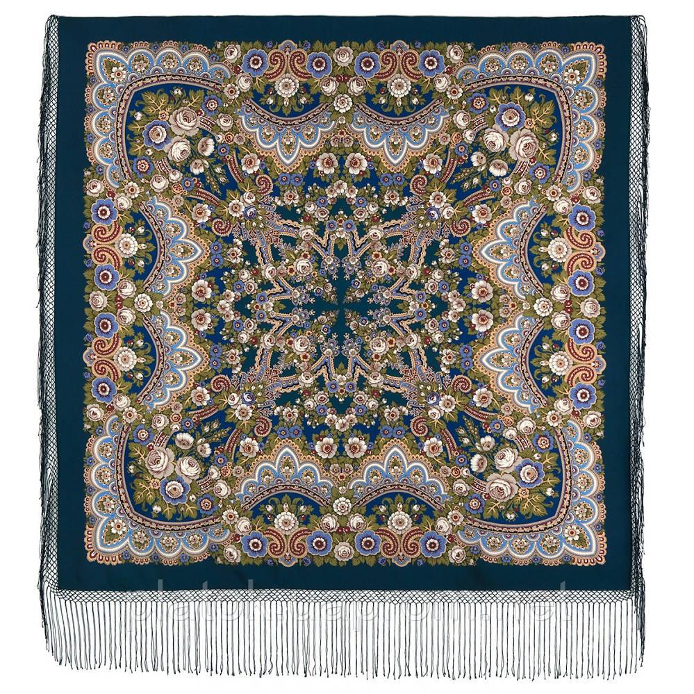 Посадский 874-14, павлопосадский платок (шаль) из уплотненной шерсти с шелковой вязаной бахромой