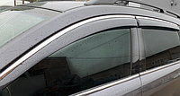 Ветровики Skoda Octavia A5 2004-2013 с хром молдингом дефлекторы окон Шкода Октавиа А5