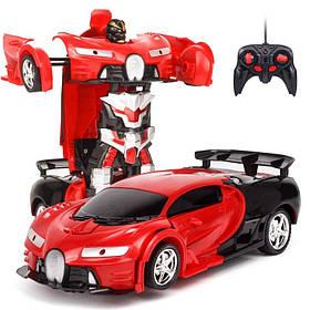 Игрушка машинка трансформер робот на пульте управления автобот Bugatti Robot Car