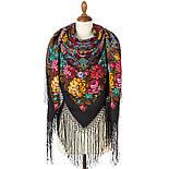 Майя 372-24, павлопосадский платок (шаль) из уплотненной шерсти с шелковой вязаной бахромой, фото 3