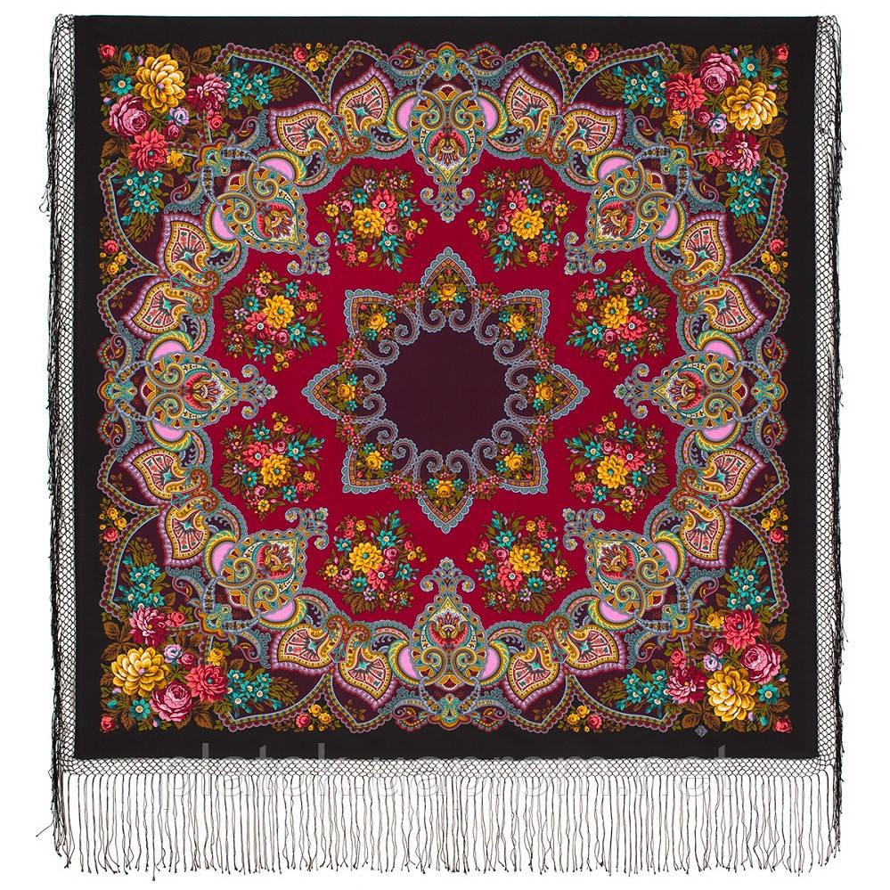 Майя 372-24, павлопосадский платок (шаль) из уплотненной шерсти с шелковой вязаной бахромой
