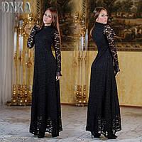 Черное гипюровое платье в пол