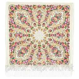 Мороз и солнце 1569-1, павлопосадский платок (шаль) из уплотненной шерсти с шелковой вязаной бахромой