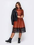 Платье  из искусственной кожи с рукавом три четверти и поясом, фото 2
