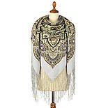 Женское счастье 1906-1, павлопосадский платок (шаль) из уплотненной шерсти с шелковой вязаной бахромой, фото 3