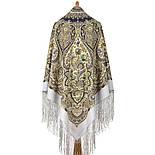 Женское счастье 1906-1, павлопосадский платок (шаль) из уплотненной шерсти с шелковой вязаной бахромой, фото 2