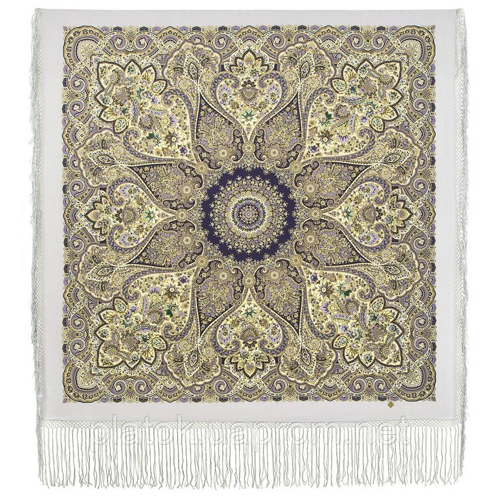 Женское счастье 1906-1, павлопосадский платок (шаль) из уплотненной шерсти с шелковой вязаной бахромой