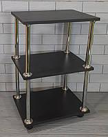 Тележка косметологическая №1 Черная (этажерка) Парикмахерский стол на колесиках