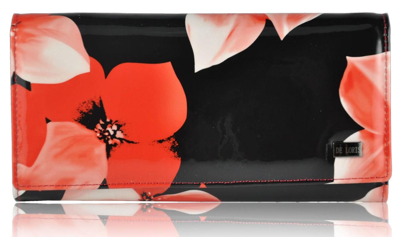 Женский кожаный кошелек 2030EZ-F99 Lack аленький цветочек черный