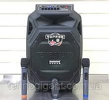 Аккумуляторная колонка, портативная акустика с микрофонами Temeisheng SL 12-08S, ( USB/Bluetooth/2 микрофона )
