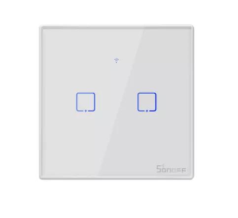 Sonoff T2 умный сенсорный настенный wifi выключатель на 2 кнопки с дистанционным управлением RF
