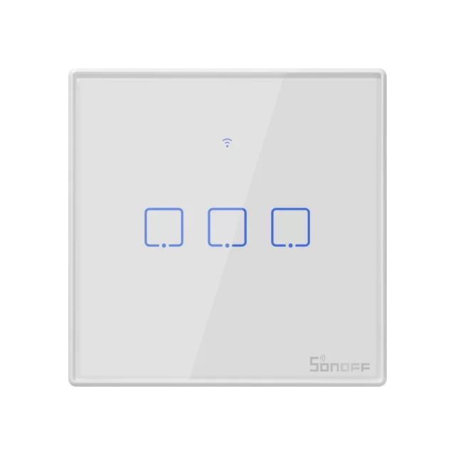 Sonoff T2 розумний сенсорний настінний wifi вимикач на 3 кнопки з дистанційним управлінням RF