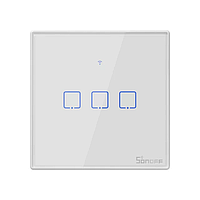 Sonoff T2 розумний сенсорний настінний wifi вимикач на 3 кнопки з дистанційним управлінням RF, фото 1