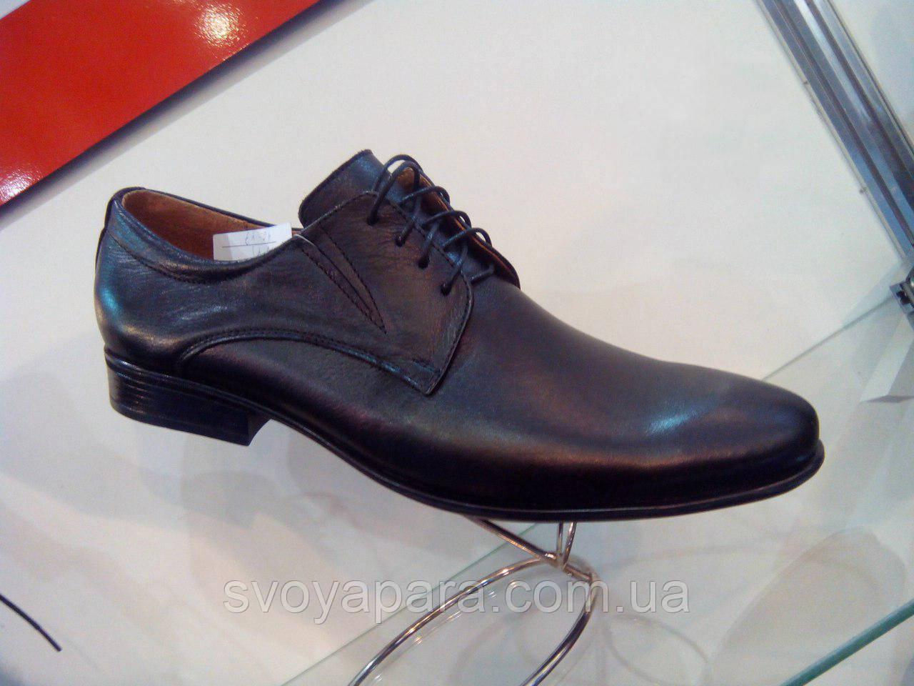 Шкіряні чорні туфлі дербі Lider