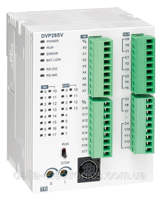 Базовий модуль контролера з серії SV2 Delta Electronics, 16DI/12DOреле, 24В, RS232, RS485, DVP14SS211R