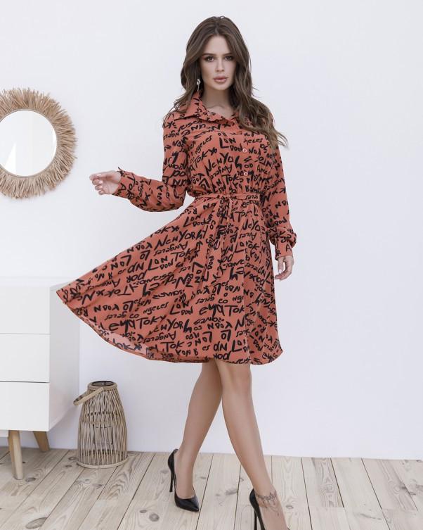 Оранжевое принтованное платье-рубашка на пуговицах