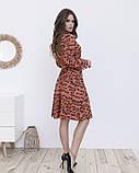 Оранжевое принтованное платье-рубашка на пуговицах, фото 2