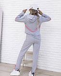 Серый трикотажный костюм с геометрическими вставками (S M L XL), фото 3
