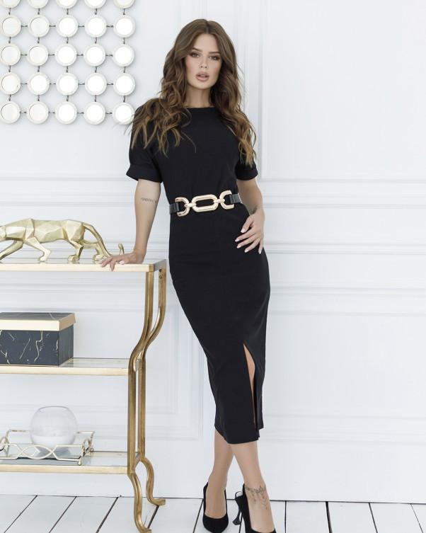 Черное классическое платье миди длины S