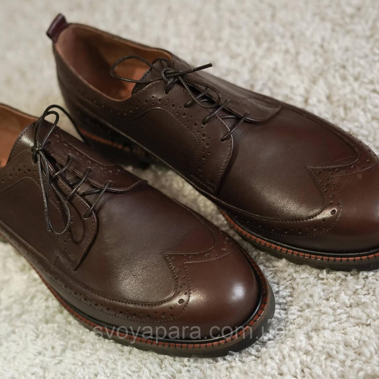 Туфли рыжие броги