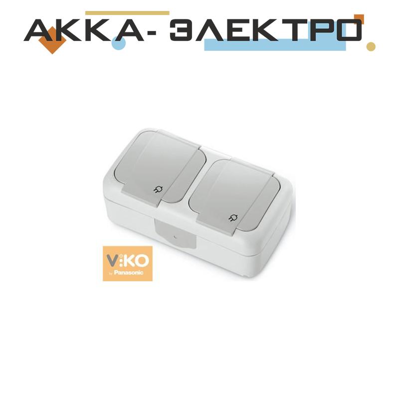 Розетка с заземлением 2-ная ViKO Palmiye 90555488 Белый