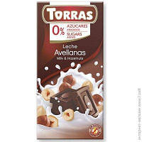 Молочный шоколад Torras без сахара с фундуком, 75 г