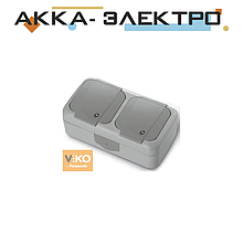 Розетка с заземлением 2-ная ViKO Palmiye 90555588 Серый