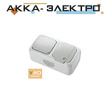 Комбінація розетки з заземленням та вимикача 1-кл. ViKO Palmiye 90555481 Білий