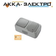 Комбинация розетки с заземлением и выключателя 1-кл.ViKO Palmiye 90555581 Серый
