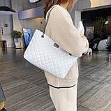 Женская большая классическая сумка шопер на цепочке белая, фото 9