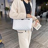 Женская большая классическая сумка шопер на цепочке белая, фото 6